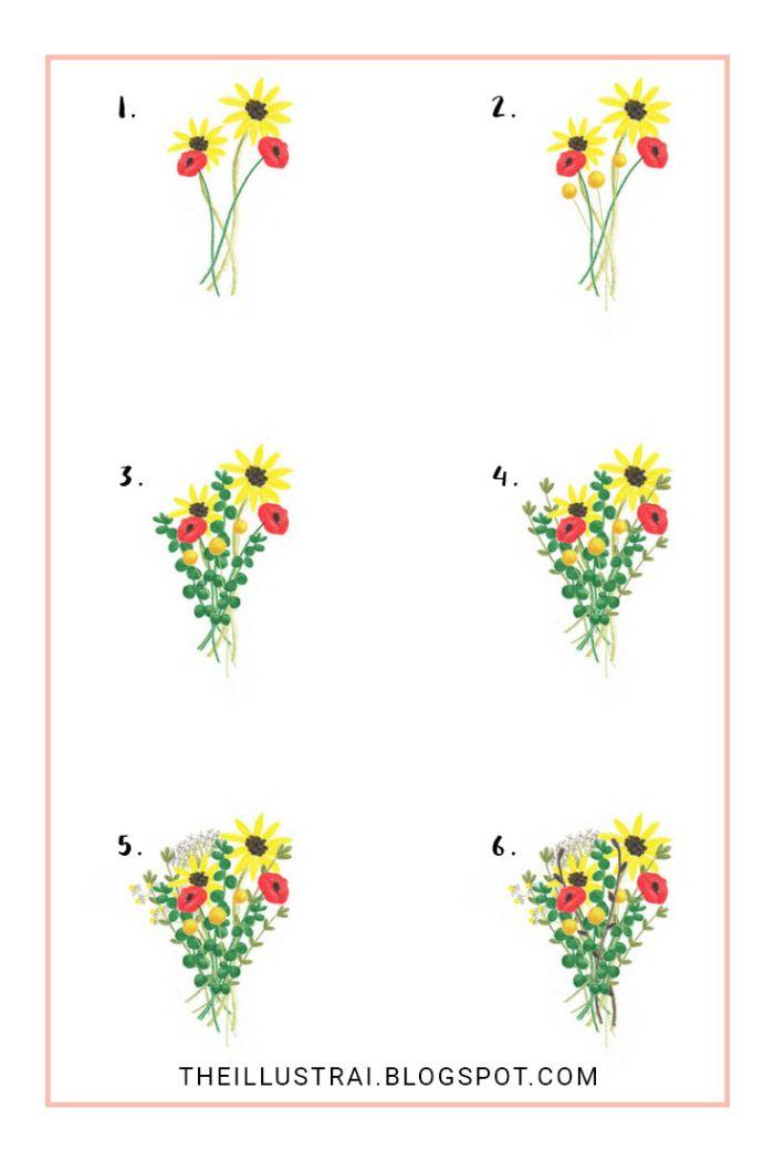 modele bouquet champetre de fleur simples coquelicots tournesols et feuillages vertes étape par étape