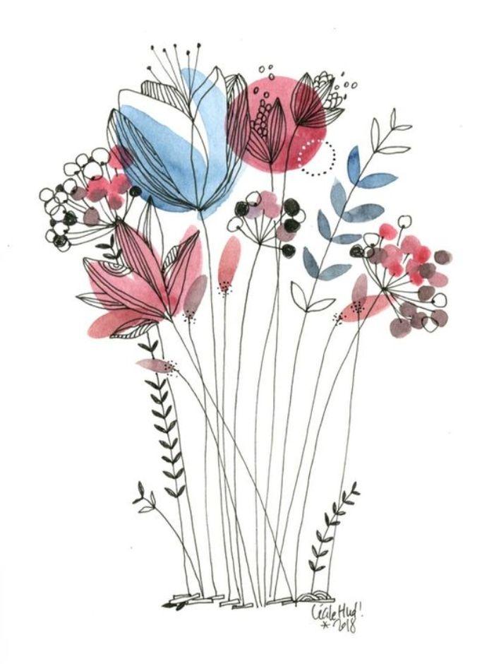 motifs floraux dessinés aux contours noirs avec des taches d aquarelle exemple d art original