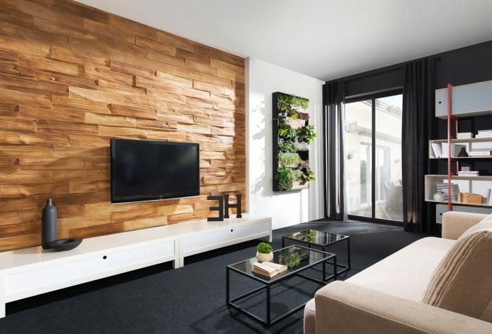 mur en pierre salon tv revetement parement pierres effet bois mur végétal jardin vertical intérieur