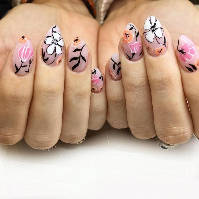 nail art facile ongles longs formes manucure printemps tendance motifs floraux dessin sur base nude
