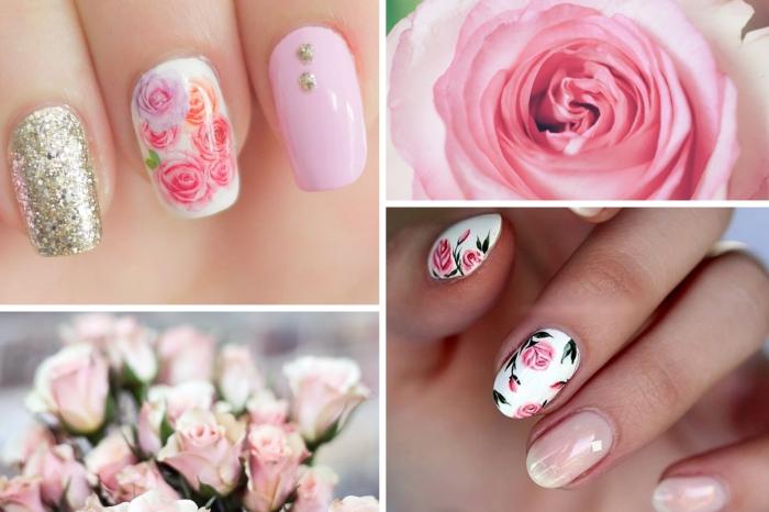 nail art rose motifs dessin sur ongles facile manucure printemps dessin rose glitter doré vernis