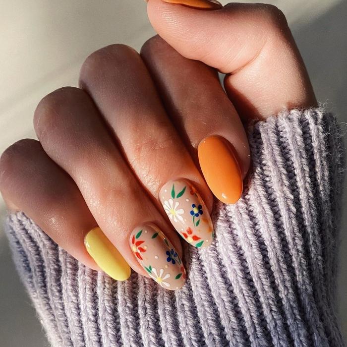ongle nail art tendance printemps vernis de base couleur jaune ongles nude avec dessins
