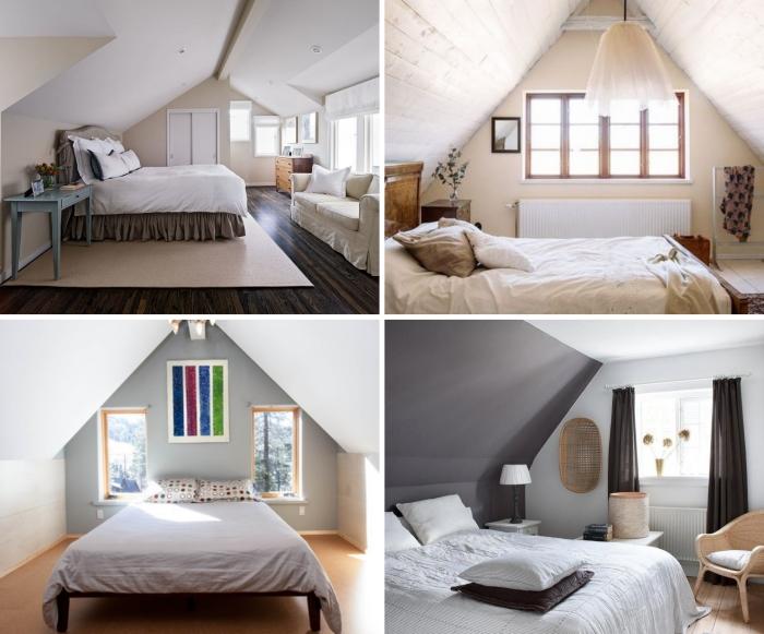 pan de mur peinture couleur aménagement chambre sous comble murs beige meuble bois vintage recup