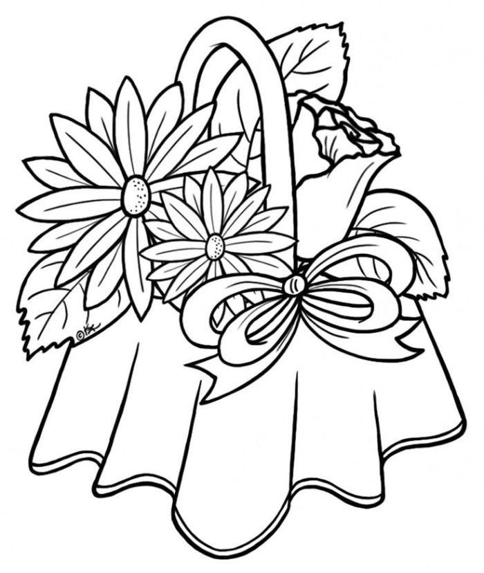 panier de rose et marguritte entourés de feuillages exemple beau simple dessin facile