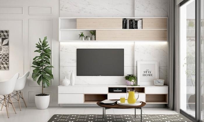 panneau mural derriere tv effet marbre design intérieur style contemporain étagère bois et blanc