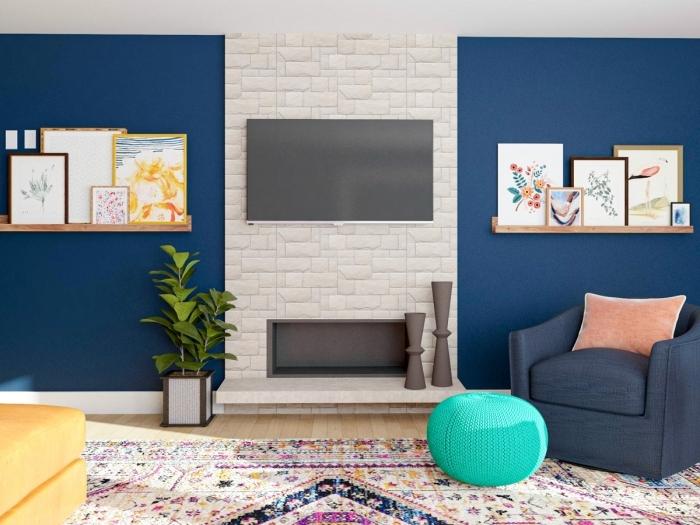panneau mural tv façon cheminée revêtement papier peint effet briques peinture murale bleu foncé