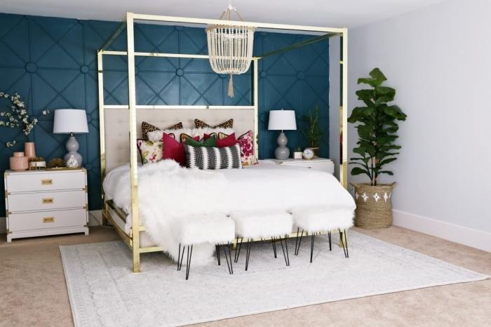 peindre 2 murs opposés décoration chalbre boho moderne style tapis blanc ivoire revetement mural