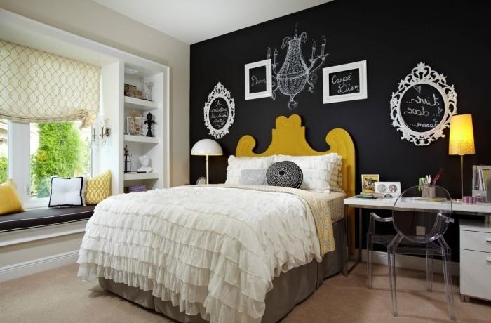 peindre une chambre en deux couleurs peinture ardoise tête de lit bois peinture jaune accents déco