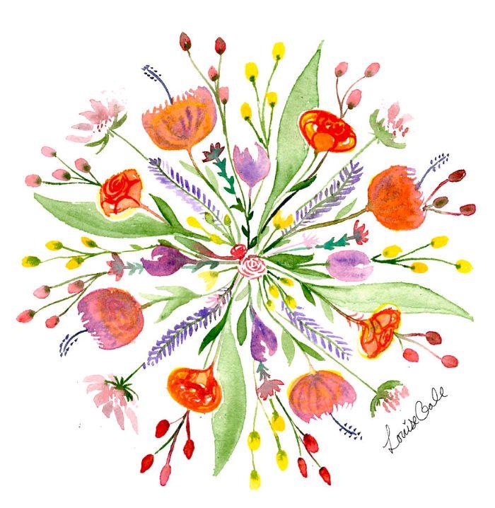 peinture aquarelle de fleurs colorées aux tiges et feuillages plusieurs teintes rouge orange jaune printemps
