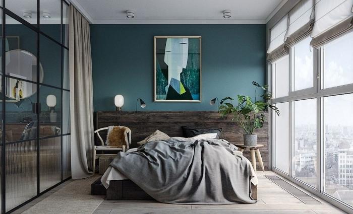 peinture chambre adulte 2 couleurs design intérieur style moderne tête de lit bois mur bleu vert accents gris