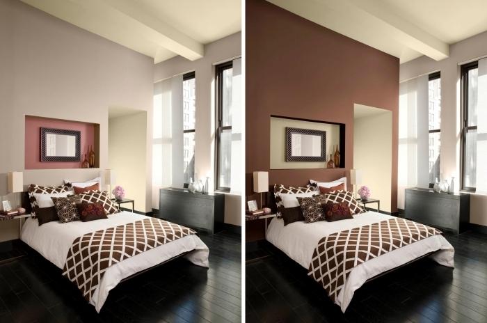 peinture chambre avant et après transformation couleur terracotta décoration niche murale vases