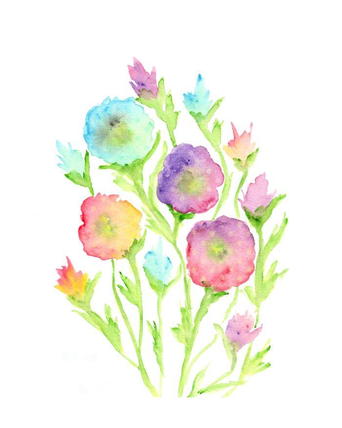 peinture diluée boutons de fleurs rose bleu violet aux tiges vert clair sur fond gris