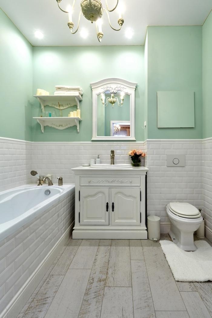 peinture murale couleur vert pastel deco campagne chic avec baignoire carrelage briques blanches