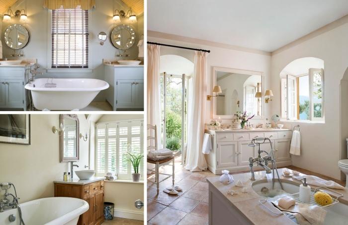 peinture murale salle de bain aménagement baignoire sur pied miroir rond meubles bois style rustique