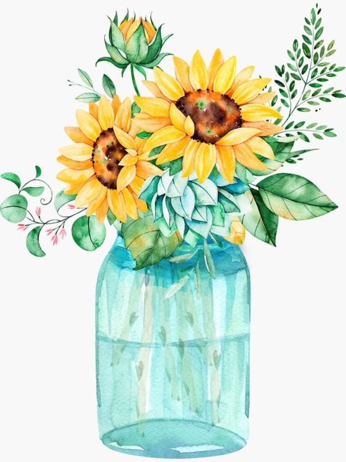 peinture tableau tournesols aux feuillages dans bocal de verre idée créative artistique nature