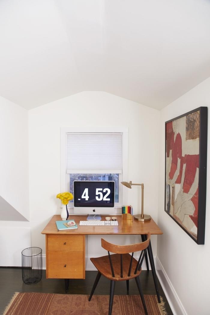 petit espace optimisation idée comment aménager des combles en bureau a domicile compacte