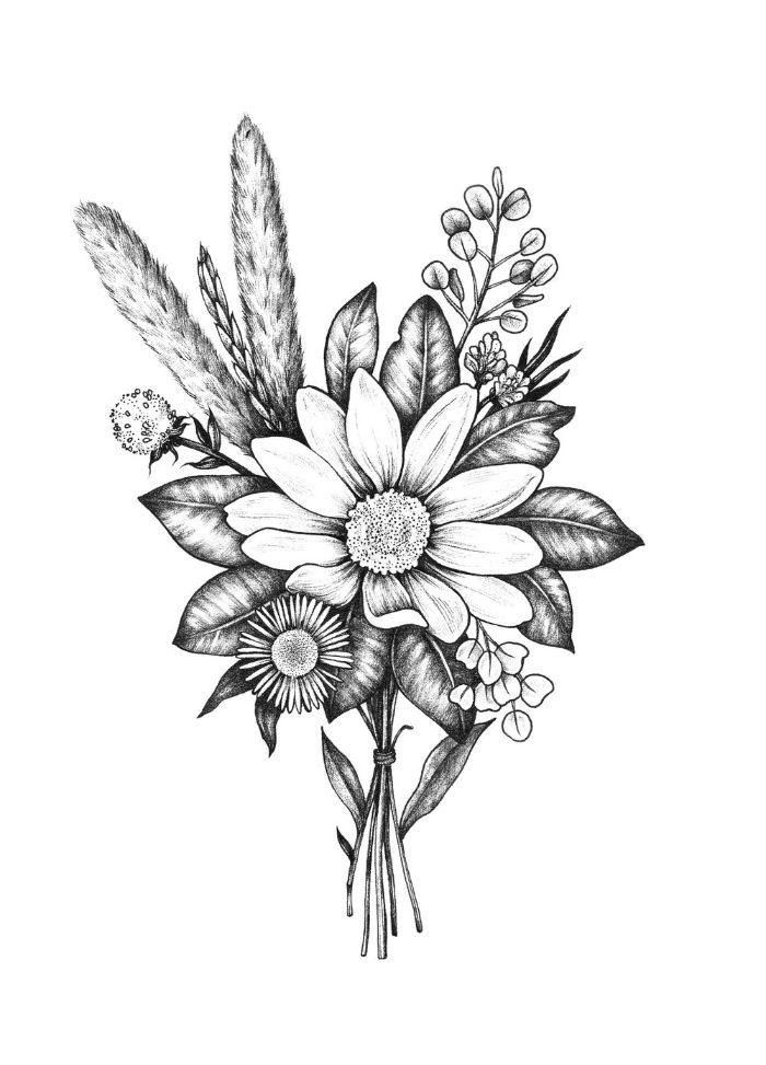 petite boutonnière de fleurs de tailles variées feuilles et autres brins de plantes champetre