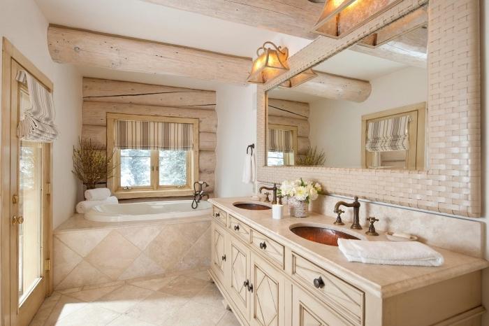 plafond poutres apparentes bois deco maison de campagne carrelage aspect pierre naturelle