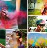 poudre colorée holi celebration anniversaire party surprise invitée mains femme sourire