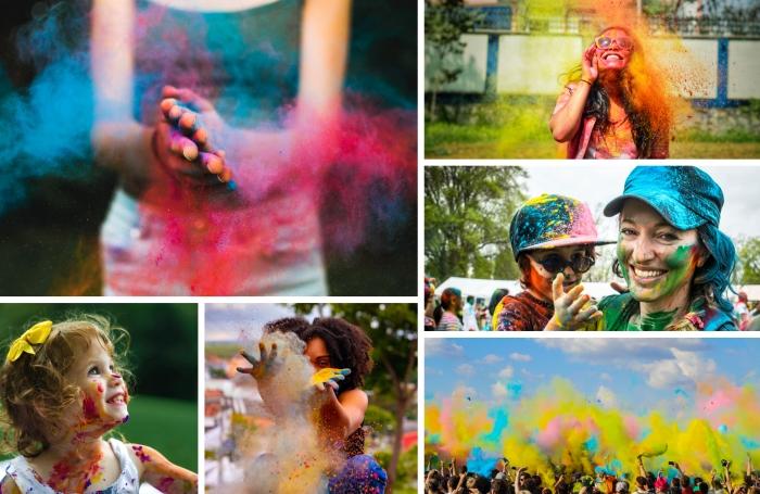 poudre colorée holi celebration anniversaire party surprise invitée mains femme sourire poudre holi
