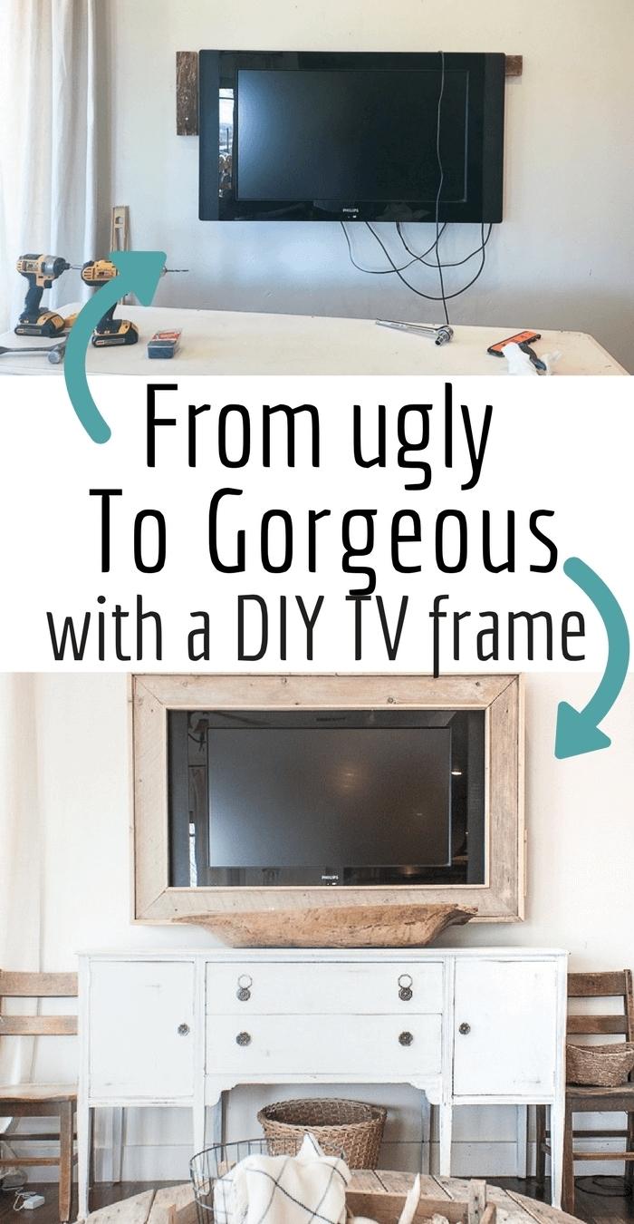 projet déco intérieure bricolage facile meuble tv petit espace panneau diy commode blanc accents bois