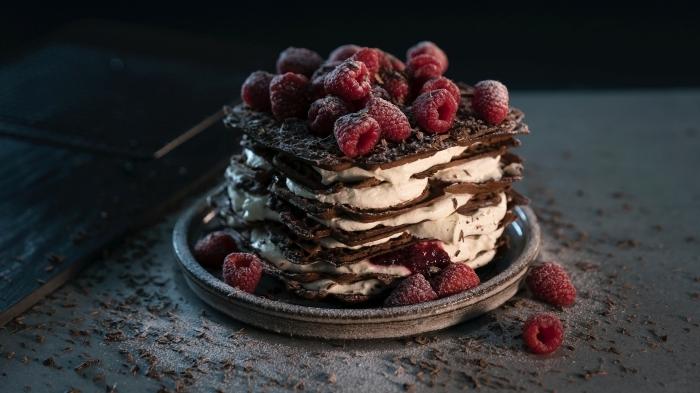que faire avec des framboises dessert biscuits au chocolat fromage mascarpone gâteau fruits rouges