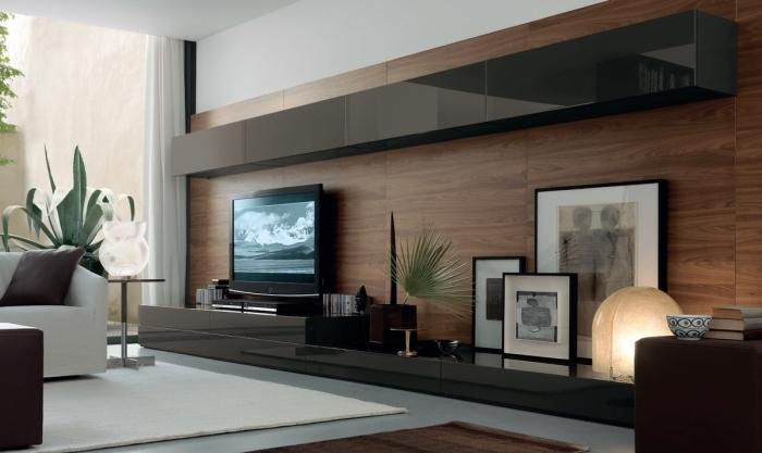 revêtement mur tv bois design intérieur moderne style contemporain cadres photos noirs