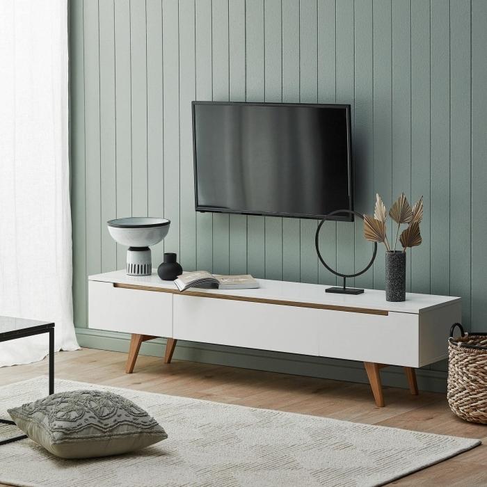 revetement mural panneaux bois vert pastel meuble tv blanc et bois deco mur tv design