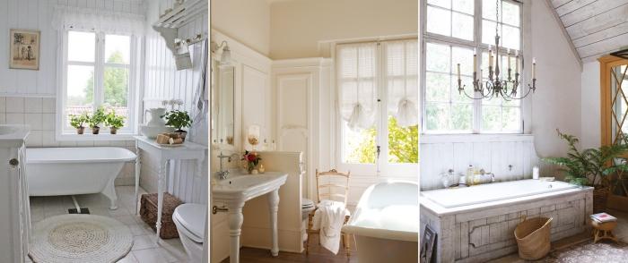 revetement sol carrelage salle de bain retro baignoire tapis bain rond blanc fenêtre plantes art mur