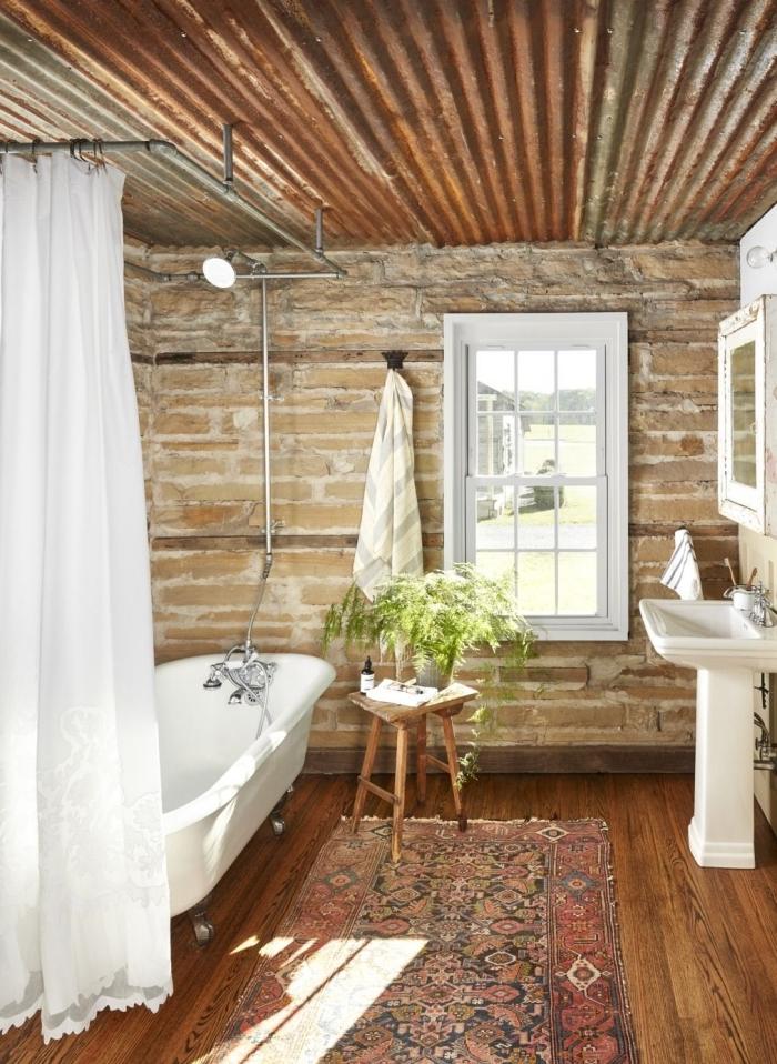 rideaux douche plante pour salle de bain pierre et bois revetement tapis ethnique motifs