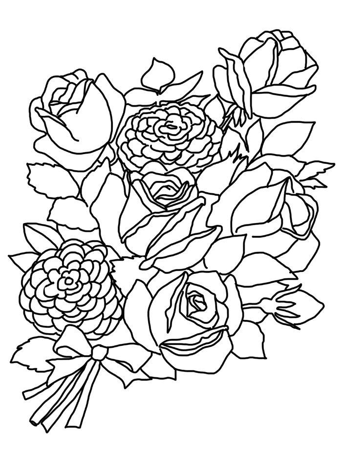 roses et autres végétaux noués d un ruban idée de coloriage enfant adulte à imprimer et colorer