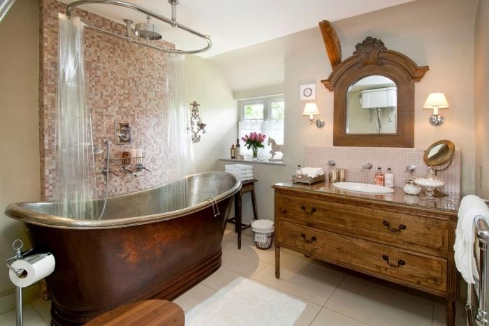 salle de bain naturelle meubles baignoire autoportante revetement pan de mur mosaique douche rideaux