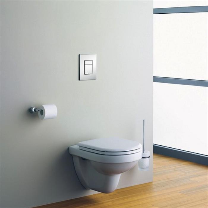 salle de bain sol en parquet murs couleur gris pastel
