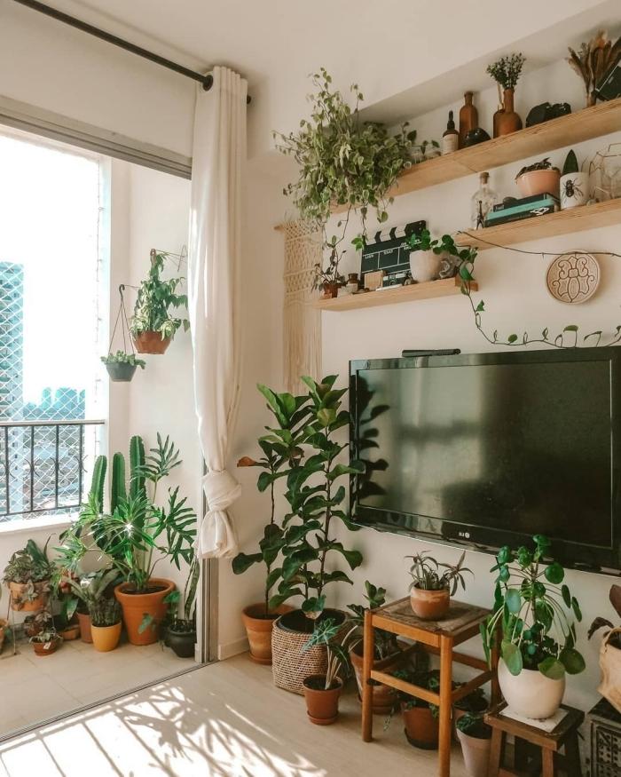 style boho design intérieur deco mur derriere tv cache cable rangement étagère suspendue plante macramé