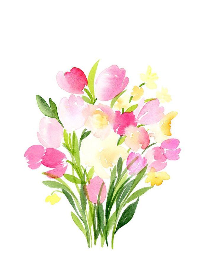 technique aquarelle fleurs de printemps tuipes roses er jacinthes image d art en couleur