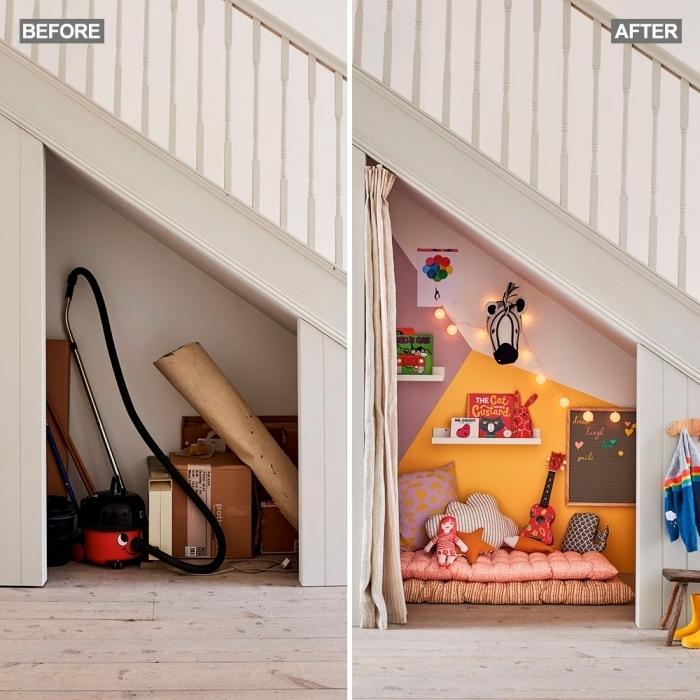 transformation intérieur escalier blanc amenagement placard sous escalier déco salle de jeux coussins