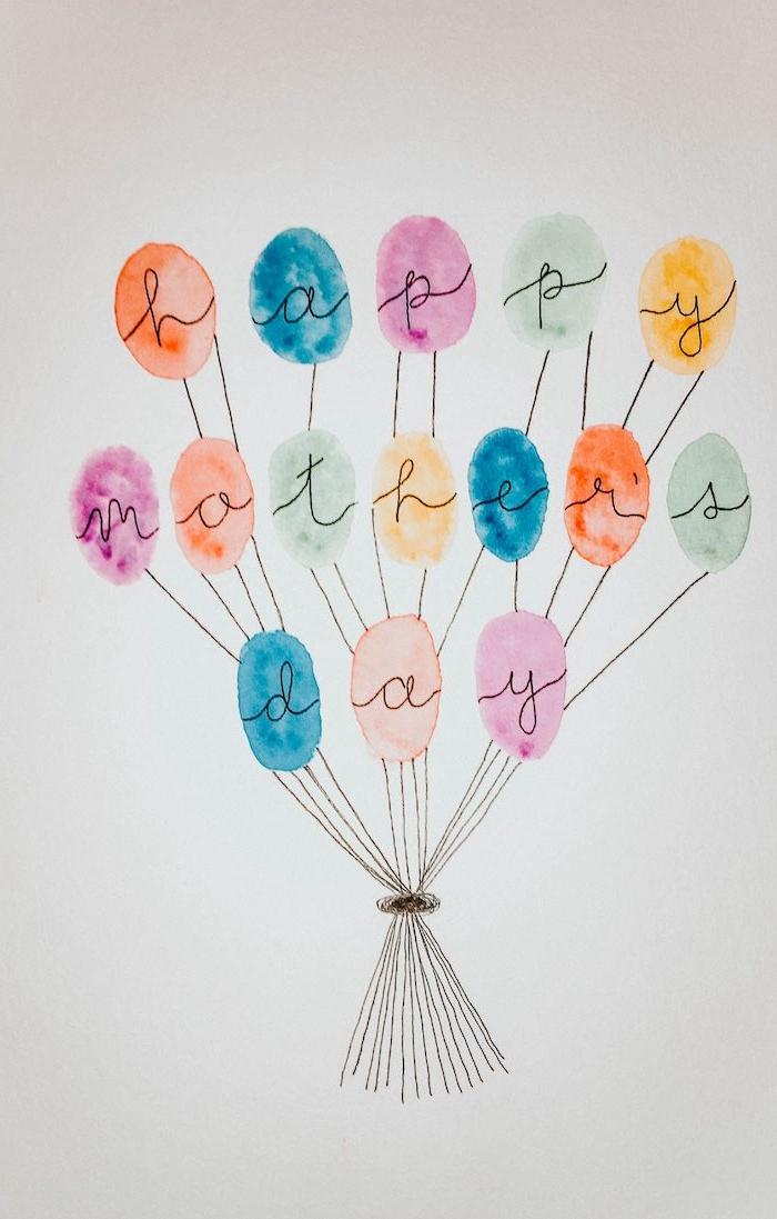 un dessin en aquarelle avec des ballons et message pour la fete des meres