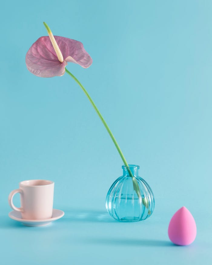 une fleure dans une vase ronde a coté d une tasse a cafe et une eponge a maquillage produits d'hygiène féminine