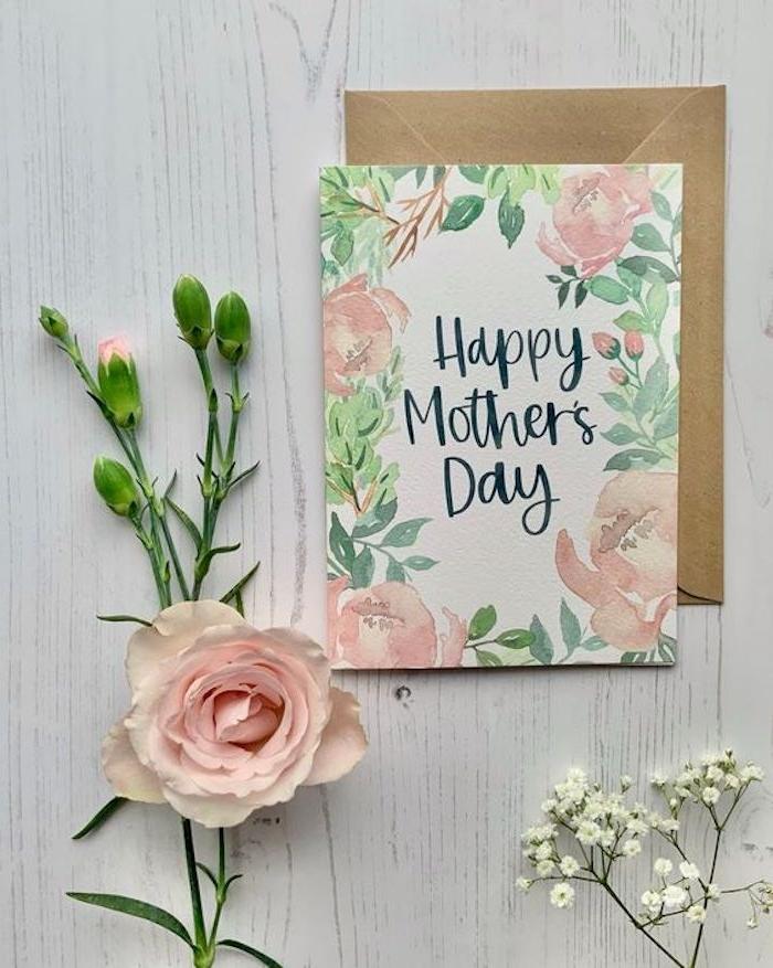 une idée d activité fete des mères comment faire une carte avec des fleurs roses