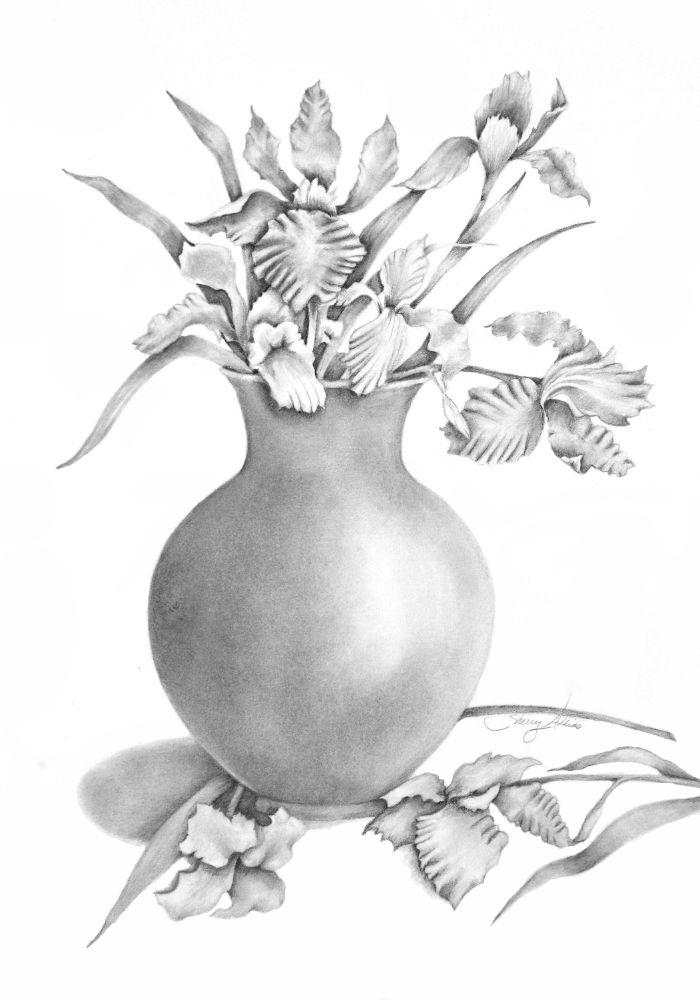 vase fleurie dessinée au fusain sur fond blanc exemple de croquis difficile à faire artistique