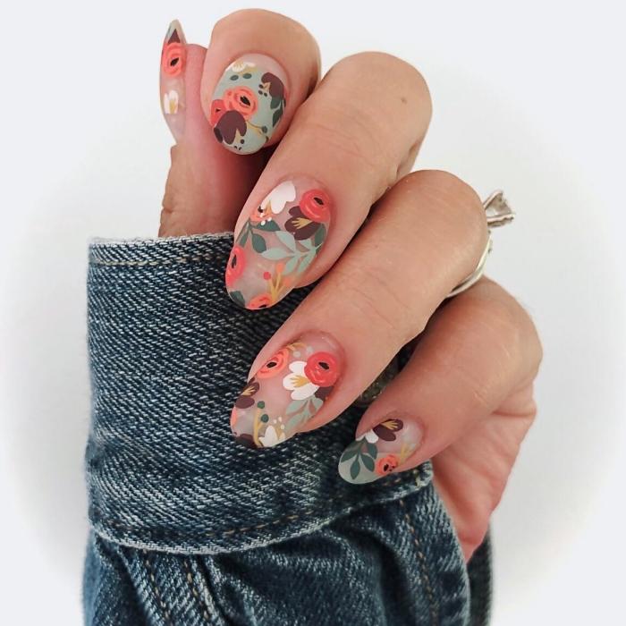 vernis de base transparent ongles nude mate finition nail art facile dessins floraux bague femme