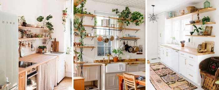 agencement de cuisine comptoir bois étagère suspendue rangement vaisselle plantes décoratives monstera