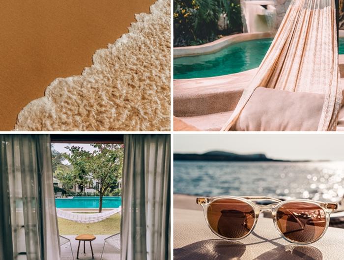 bain de soleil hamac suspendu deco exterieur piscine hamac macrame couleur beige