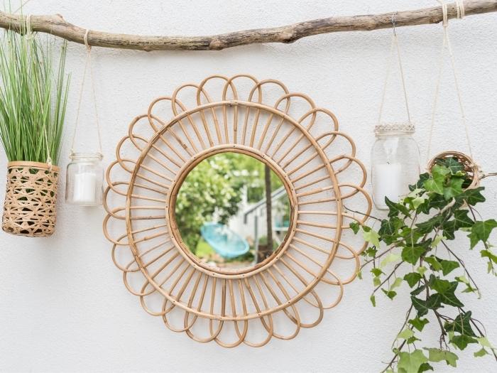 boho chic intérieur déco miroir soleil suspension diy bois flotté corde macramé cache pot mural fibre végétale