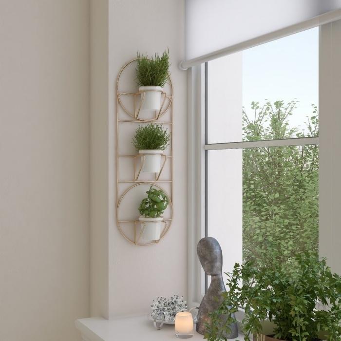 bougie led décoration fenêtre zen plante decoration interieur rangement mural métal rose gold