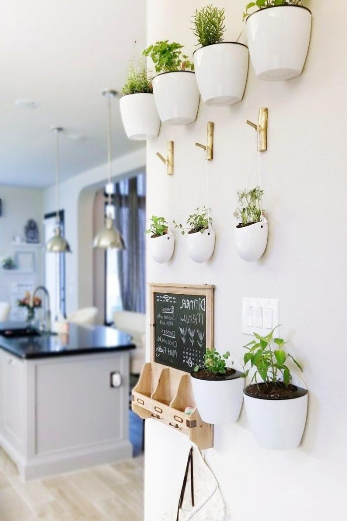 cache pot mural plastique rangement mural herbes plantes vertes d intérieur crochets dorés pots blancs