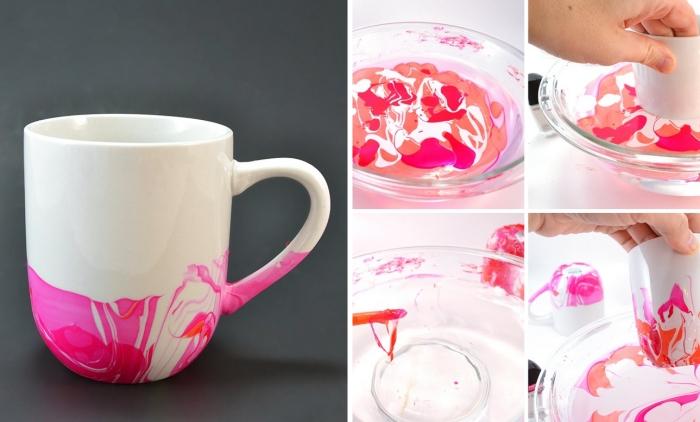 cadeau a faire soi meme facile personnaliser un mug avec vernis a ongle eau distillée activité manuelle ado