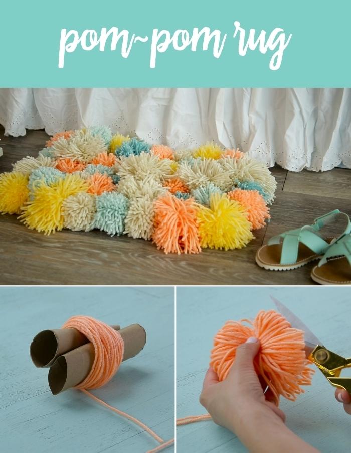 cadeau a faire soi meme pour maman bricolage maison comment faire tapis en pompons laine