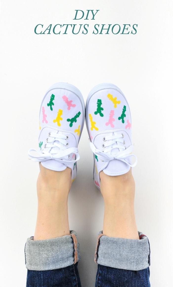 cadeau fete des meres fait main comment customiser ses sneakers avec stickers autocollants cactus