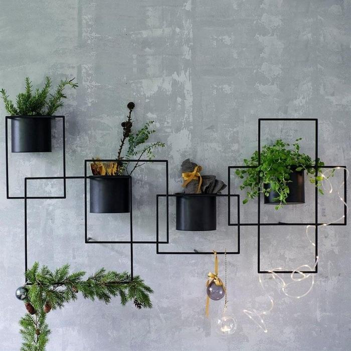 cadre floral en métal support décoration intérieure peinture a effet béton style industriel pots noirs